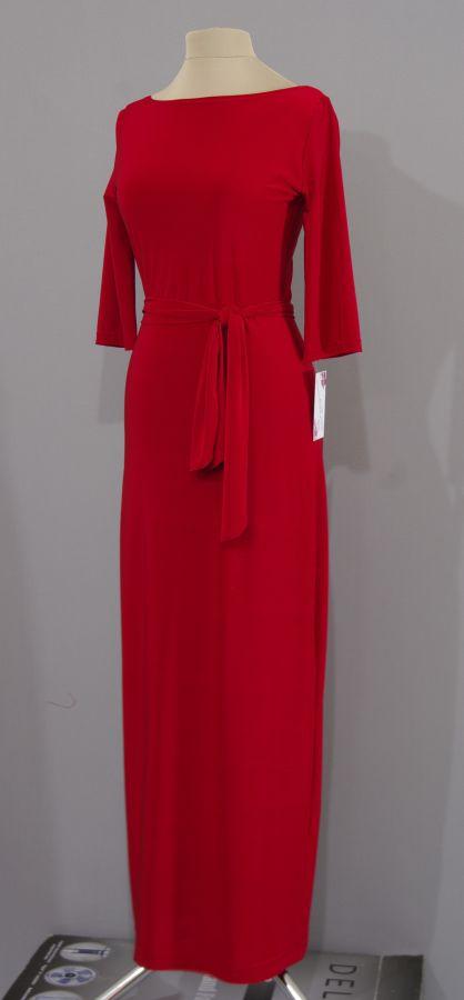 Платья в пол из трикотажа красное