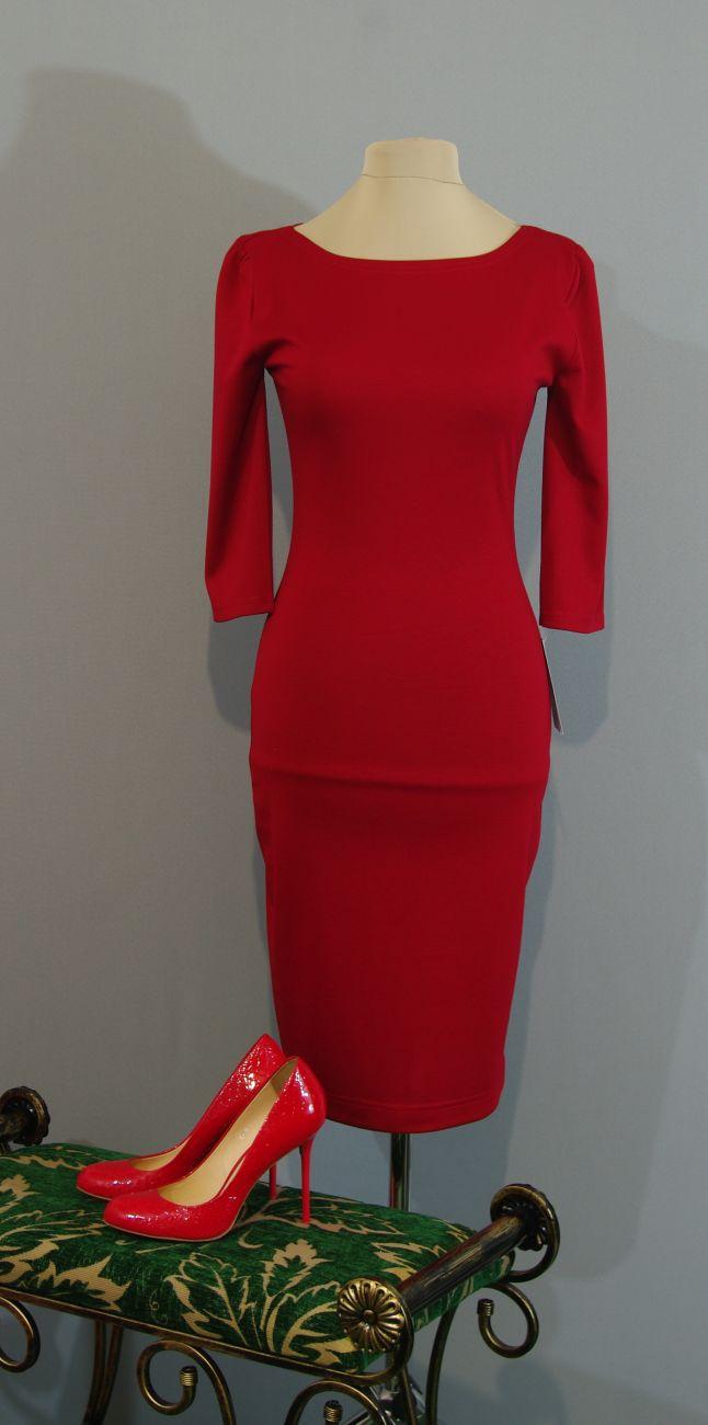 Купить Платье Красное Трикотажное