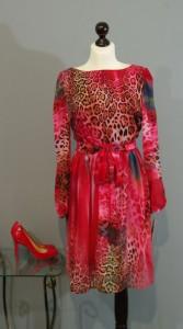 шелковое платье леопард