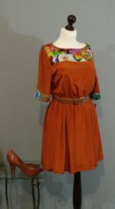 Шелковое рыжее платье