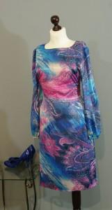 сине-розовое платье из шелка