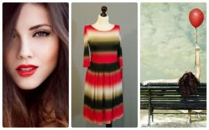 красное полосатое платье с горизонтальными полосами