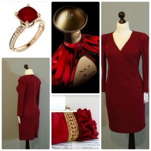 рубиновое платье с золотой молнией