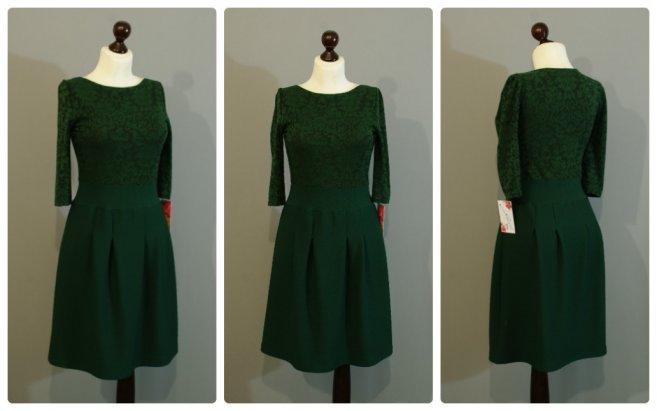 Темно-зеленое платье кружевное