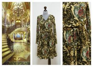 Платье коричнево-золотое с узорами