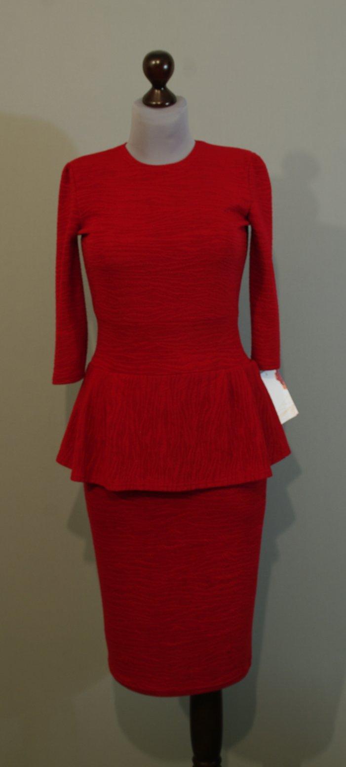 Купить Платье С Баской Красное
