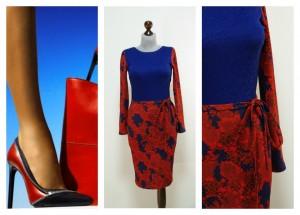 Красно-синее платье