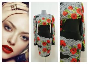 Теплое платье с розами