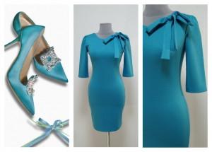 Платье голубого цвета оттенка неба