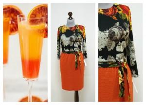 Черно-оранжевое платье