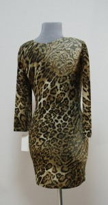 Теплое короткое платье леопард