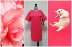 Коралловое платье-кокон