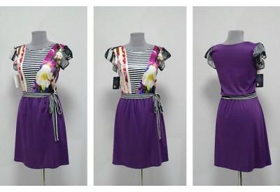 Платье с фиолетовой вставкой