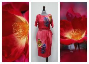 2016 бордово-коралловое платье на лето