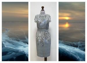 Платье цвета утреннего неба с дымкой