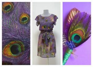 Платье с павлиньими перьями