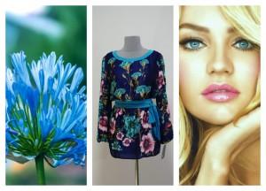 Синяя блуза-туника из японского шелка