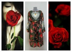 Платье с розами и королевскими символами