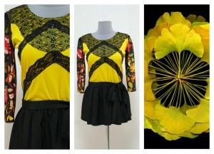 Желто-черная блуза с кружевами