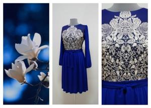 Синее платье электрик с переходом в ультрамарин