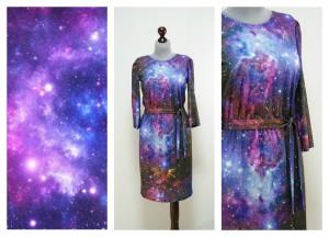Платье со звездами, космическая ткань