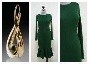Зеленое изумрудное платье