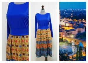 Синее с рыжим платье