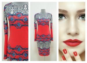 Красно-коралловое платье