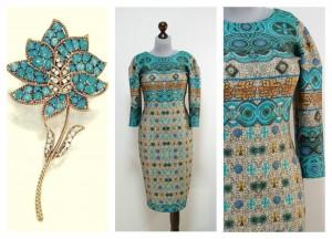 Платье бирюзовое с серым