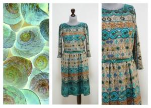Платье серое с бирюзовым