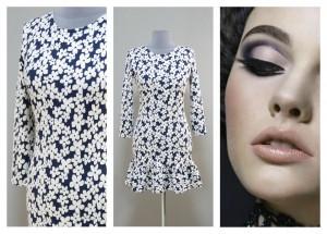Темно-синее платье с белыми цветочками