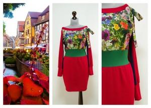 Яркое красное платье с цветными вставками