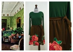 Зеленое с коричневым платье