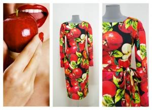 Черное платье с красными яблоками из ткани Дольче Габбана