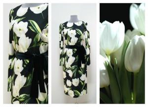 Дизайнерское черное платье с тюльпанами
