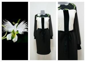 Нарядное черно-белое платье