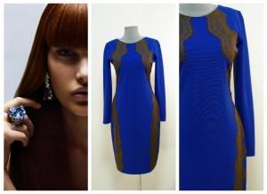 Синее нарядное платье с кружевами купить Украина