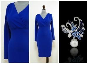 Синее нарядное платье с декольте на запах