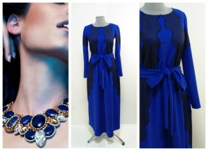 Расклешенное синее платье с кружевами длина макси-миди