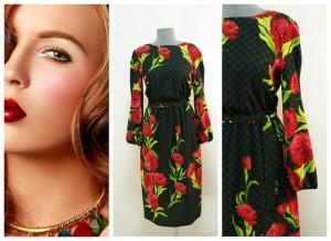Модное черно-красное платье в стиле Дольче Габбана купить Украина