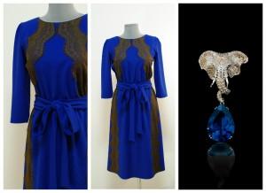 Синее нарядное платье клеш с кружевами Украина