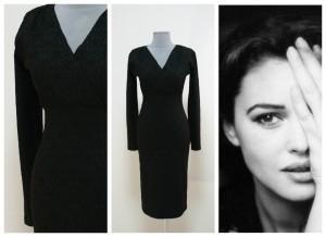 2017 черное платье с декольте на запах