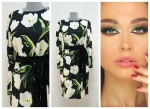 2017 платье с белыми тюльпанами ткань дольче габбана