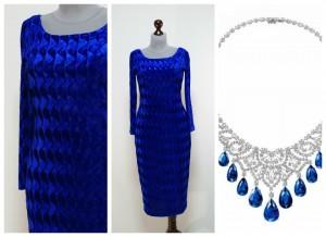 2017 синее бархатное платье