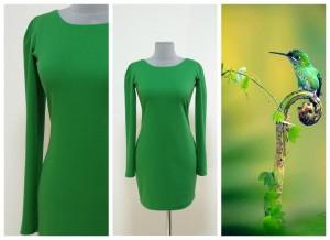 2017 зеленое теплое платье