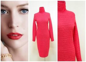 2017-2016 теплое коралловое платье-футляр с высоким воротом Украина