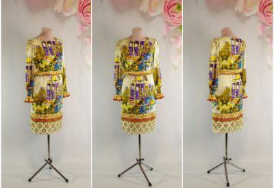 2a4dff2f3d0 Молочное платье с принтом колоннады