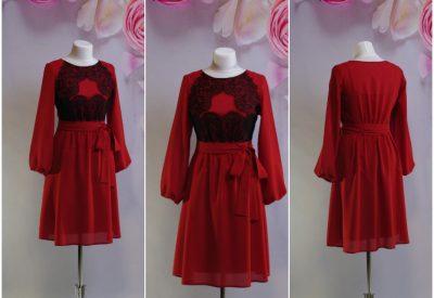 fc885d681c6 Красно-терракотовое платье с черными кружевами и комбинацией